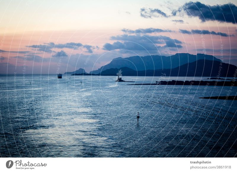 Sonnenaufgang vor Sardinien Meer Meereslandschaft Sonnenaufgang - Morgendämmerung Berge Schifffahrt Kreuzfahrt aida rosa himmelblau Himmel
