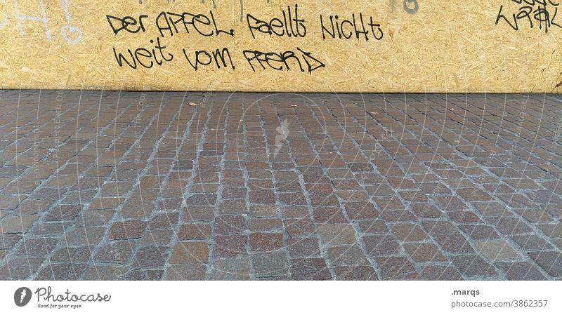 Weisheit Wand Graffiti Schriftzeichen Redewendung Spruch Kopfsteinpflaster skurril lustig anders Denken streetart