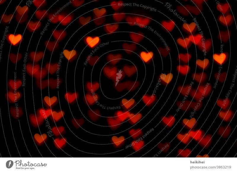 Bokeh-Effekt - leuchtende Herzen herzförmig herzlich herzbewegend herzform Herzlichen Glückwunsch glücklich danke schön Danke karte Dankeskarte nacht licht