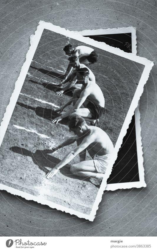 Historische Fotografie von Sportlern am Start laufen startbereit Sprint AscheBahn sportlich Athlet Aktion Außenaufnahme Fitness rennen Erfolg Training
