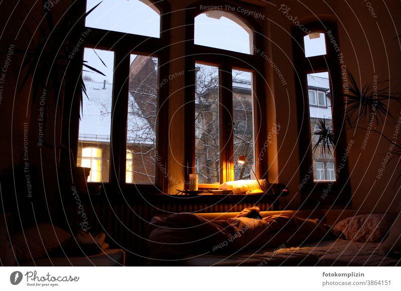 Altbau-Fenster mit Lampenlicht und Ausblick auf Winterstimmung  vom Nachbargebäude Fensterblick Fensterrahmen Fensterplatz Fensterscheibe Aussicht ausblick