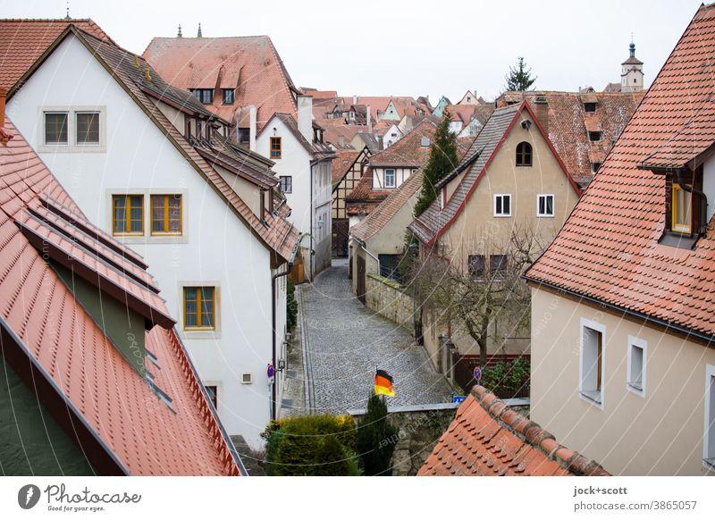 Ausblick in die Altstadt historisch Panorama (Aussicht) Stadtansicht Architektur Städtereise Nördlingen Dachlandschaft Gasse Fassade Giebeldächer
