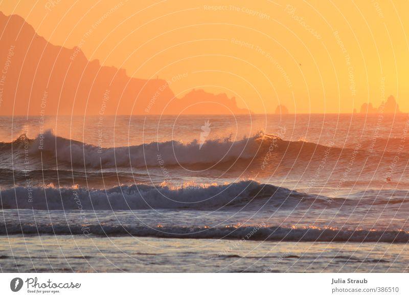 Esteiro3 Wasser Sonne Sonnenaufgang Sonnenuntergang Sommer Felsen Strand Meer Atlantik Warmherzigkeit Klima Gischt Silhouette Galicia orange Traumstrand