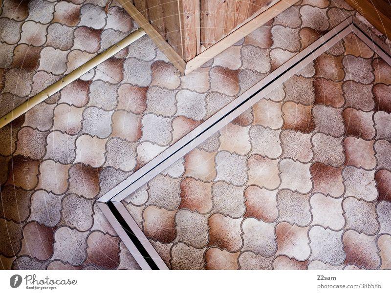 bodenständig Haus dunkel eckig einfach kalt retro Design Genauigkeit Nostalgie Ordnung Perspektive planen Präzision Symmetrie Häusliches Leben Muster Bodenbelag