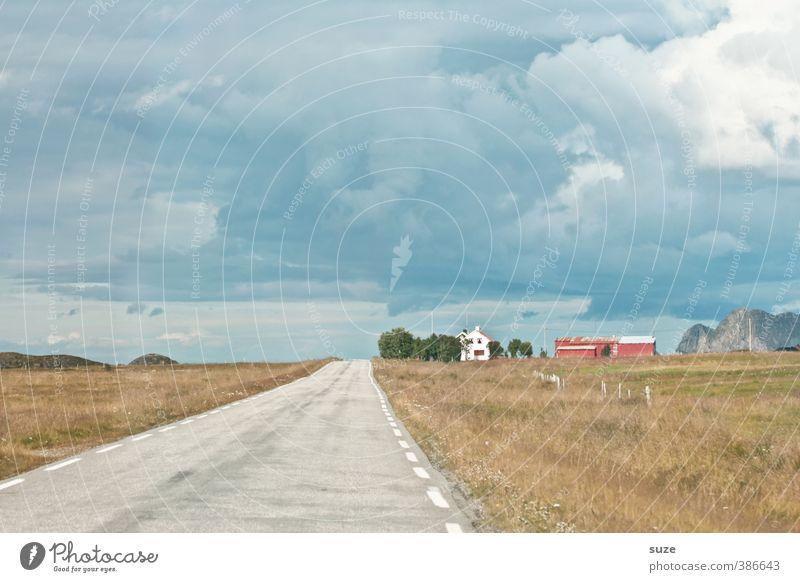 Landweg ruhig Ferien & Urlaub & Reisen Sommer Haus Umwelt Natur Landschaft Himmel Wolken Wiese Feld Dorf Hütte Verkehr Verkehrswege Straße alt authentisch