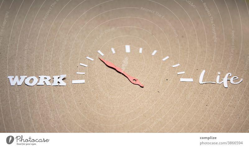 WORK - Life Balance Pfeil Erholung, Textfreiraum schneiden Scherenschnitt Entscheidung Instrument Anzeige Gesundheitsrisiko erfolgreich Zeiger Tachometer