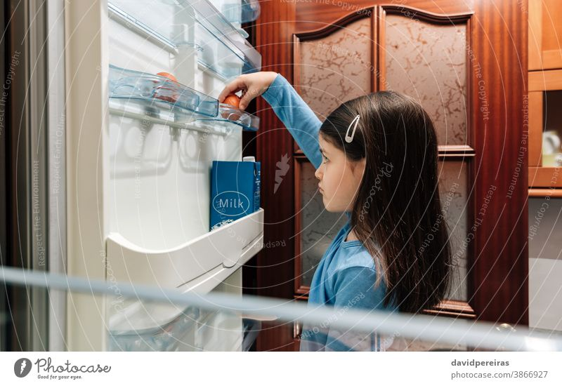 Trauriges Mädchen nimmt ein Ei aus dem leeren Kühlschrank unglücklich schlecht covid-19 Krise wirtschaftliche Probleme kein Essen Coronavirus Küche Menschen