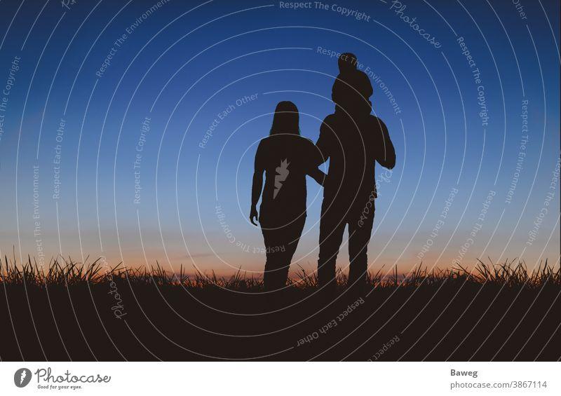 Familie beim Spaziergang zum Sonnenuntergang Silhouette Silhouetten Auszeit Baum Sonnenaufgang Frau Mann Kind Paar Beziehung Draussen Ehe Entspannung Freizeit