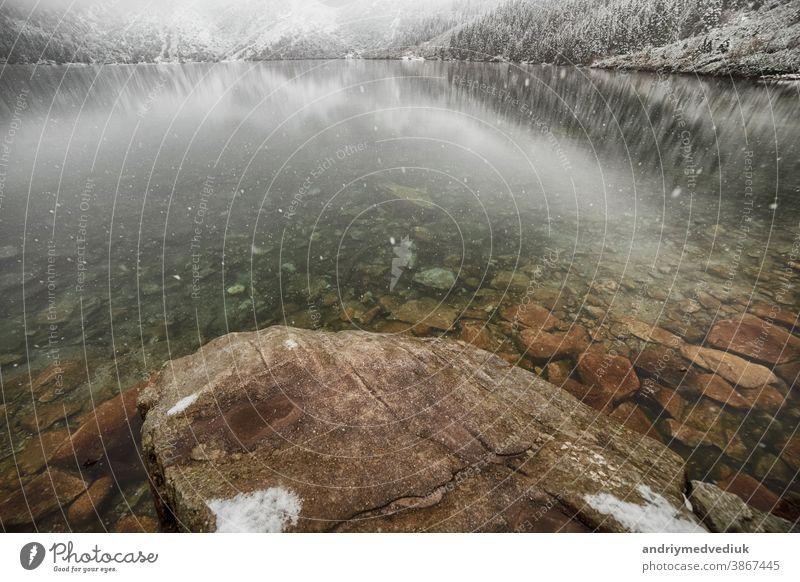 Bergsee im Winter. Morske Oko. Polen Alberta Alpen Österreich Hintergrund Banff Bayern bayerisch schön blau Krater Wald Deutschland See Land Landschaft