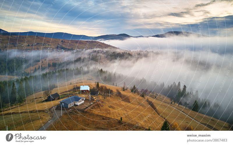 November Vormittag. Morgennebel im Bergtal. Wald von niedrigen Wolken bedeckt. Nebliger Herbstwald Berge u. Gebirge Nebel Natur Baum reisen im Freien Saison