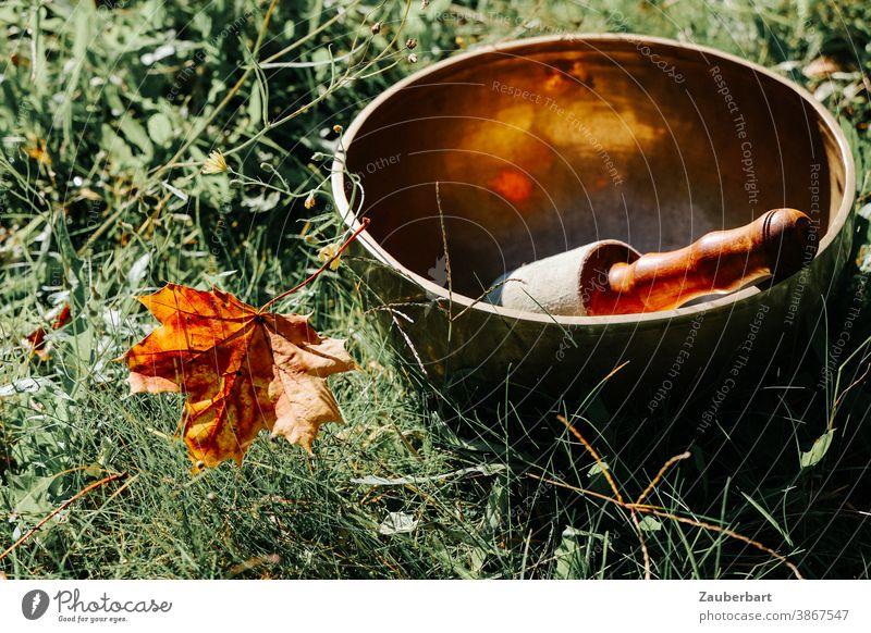 Klangschale mit Klöppel und Herbstblatt im Gras Blatt Sonne Meditation Wellness Entspannung Schalen & Schüsseln Zufriedenheit ruhig harmonisch Erholung