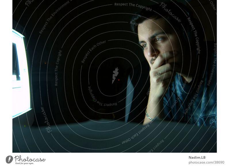 Think about something ! Mensch Mann Einsamkeit Computer Denken Stress Problematik