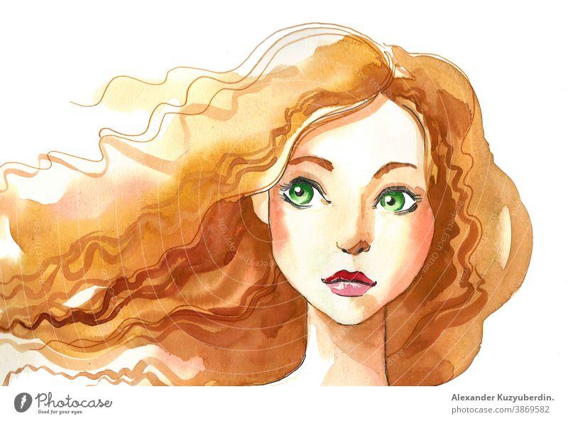 Hübsches Mädchen mit grünen Augen. Tusche- und Aquarellzeichnung Frau Schönheit Dame . Gesicht Charakter Kunst Kunstwerk Hintergrund Zeichnung