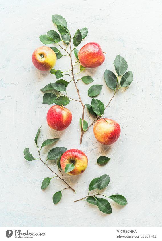 Äpfel und Apfelbaumzweige mit grünen Blättern Muster auf weißem Hintergrund. Ansicht von oben Zweige Draufsicht süß flach Tisch Layout Frische reif