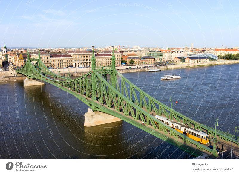 Freiheitsbrücke und Skyline von Budapest Schädling Ungarn Brücke Großstadt Wasser Stadtbild alt Wahrzeichen Denkmal Gebäude historisch Fluss Donau urban