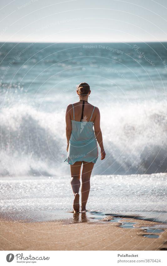#A2# Sonniger Tag am Strand mit großen Wellen und Gischt Küste Stranddüne Strandspaziergang Strandleben laufen spazieren Meer Ferien & Urlaub & Reisen