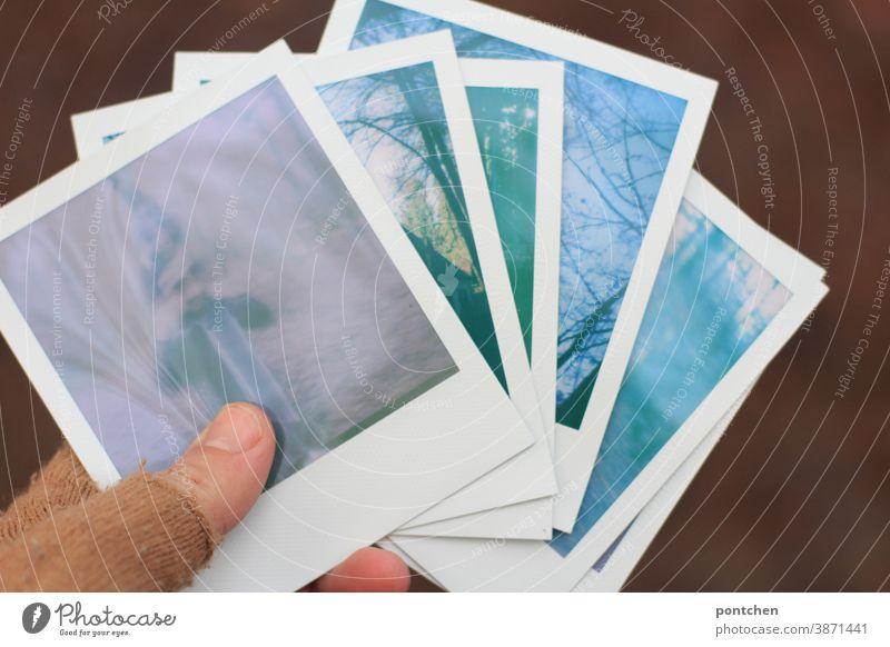 Sechs polaroids in einer Hand mit Handschuhen. Pastellfarben Polaroids halten hand handschuhe sechs pastell fotografie analog Erinnerung sentimental Nostalgie