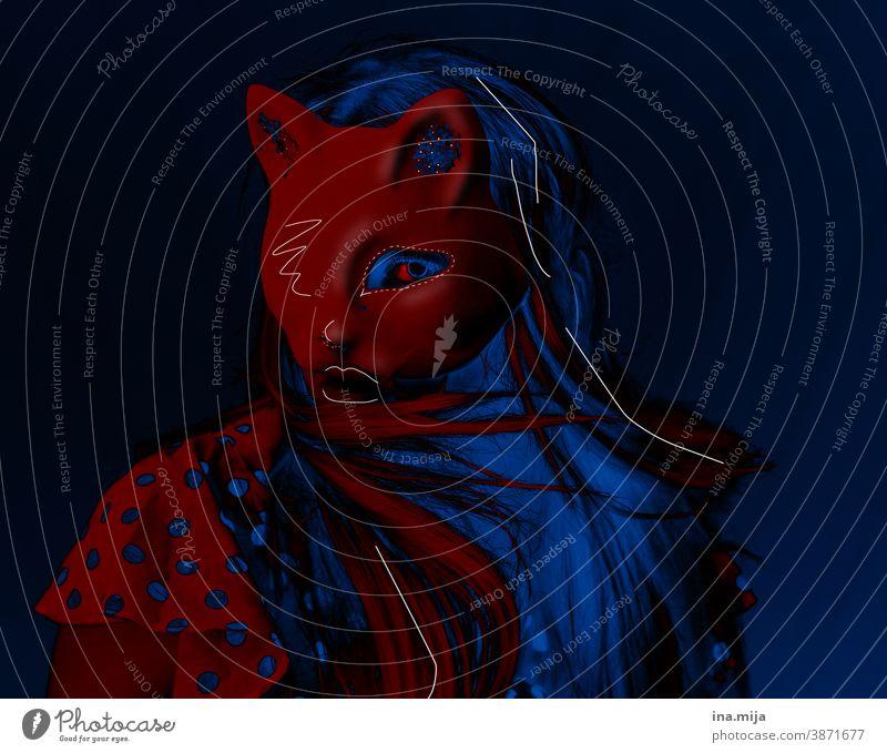 Miau II Künstler Schauspieler Theaterschauspiel Surrealismus Identität Traumwelt träumen Katze Farbe Weiblichkeit trendy Gesicht Tiermensch Party rot blau Maske