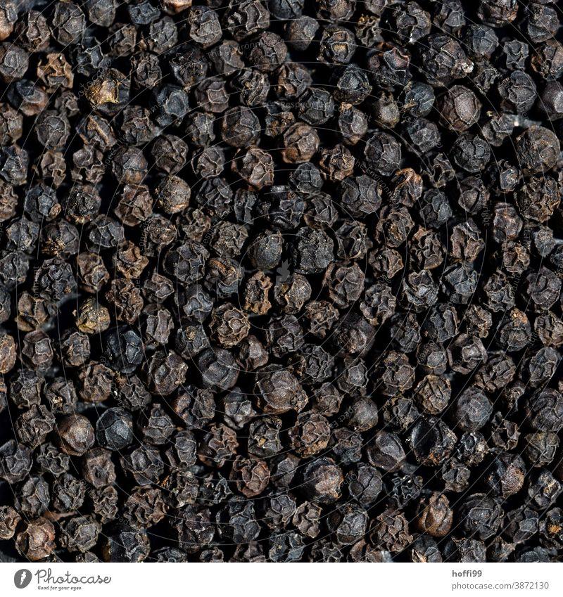 Pfeffer - schwarzer Pfeffer Paprika Pfefferkörner Kräuter & Gewürze Würzig Scharfer Geschmack Nahaufnahme Detailaufnahme Ernährung Essen zubereiten Lebensmittel
