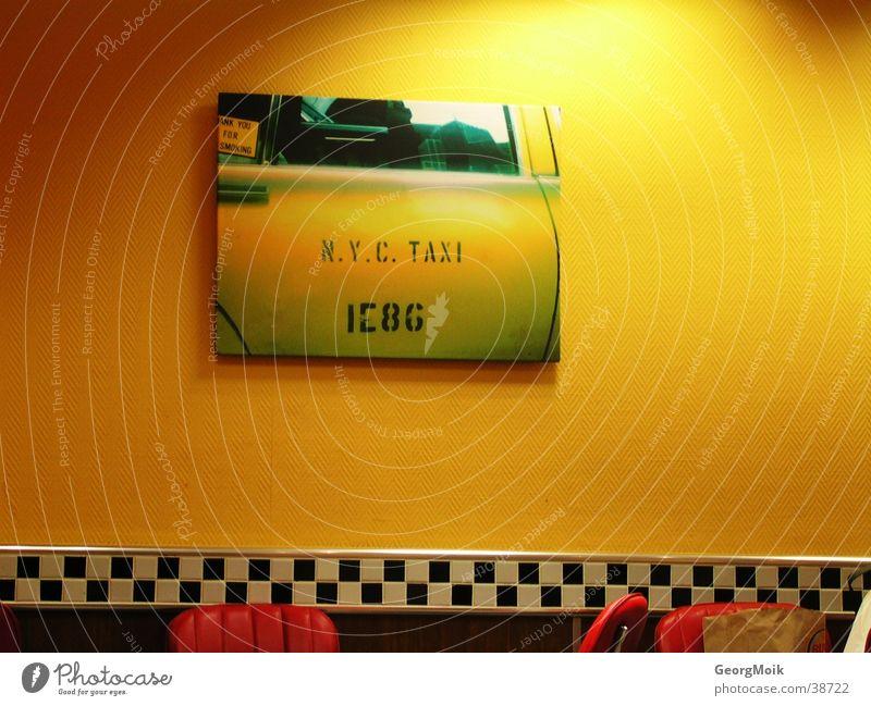 N.Y.C Taxi weiß ruhig schwarz gelb Stil PKW hell Bild Häusliches Leben Fliesen u. Kacheln England kariert Fast Food Restaurant Öffentlicher Personennahverkehr