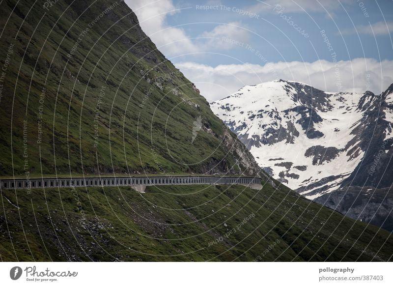 die straße zum propheten Natur Pflanze Himmel Wolken Sommer Schönes Wetter Schnee Gras Wiese Hügel Felsen Alpen Berge u. Gebirge Gipfel Schneebedeckte Gipfel