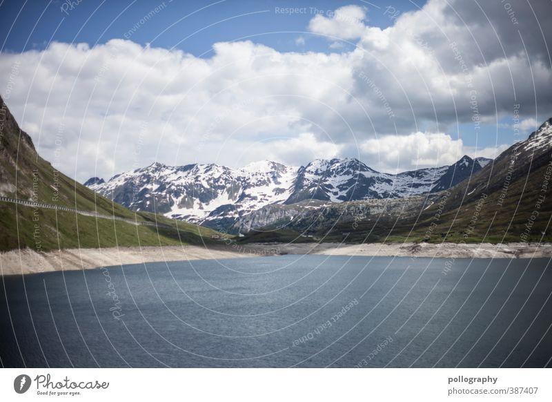 Sommer in den Hochalpen III Natur Landschaft Wasser Himmel Wolken Schönes Wetter Wind Gras Hügel Felsen Alpen Berge u. Gebirge Gipfel Schneebedeckte Gipfel