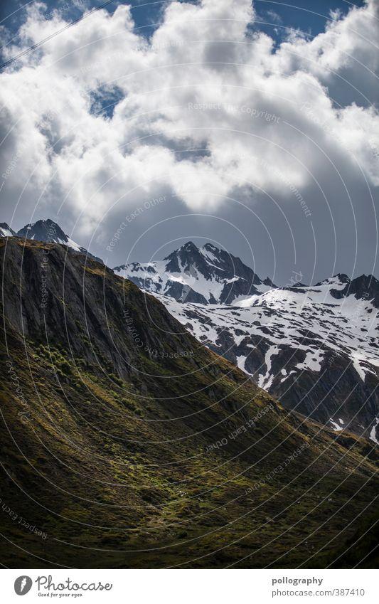 Sommer in den Hochalpen II Umwelt Natur Landschaft Pflanze Himmel Wolken Klima Wetter Schönes Wetter schlechtes Wetter Schnee Gras Wiese Hügel Felsen Alpen