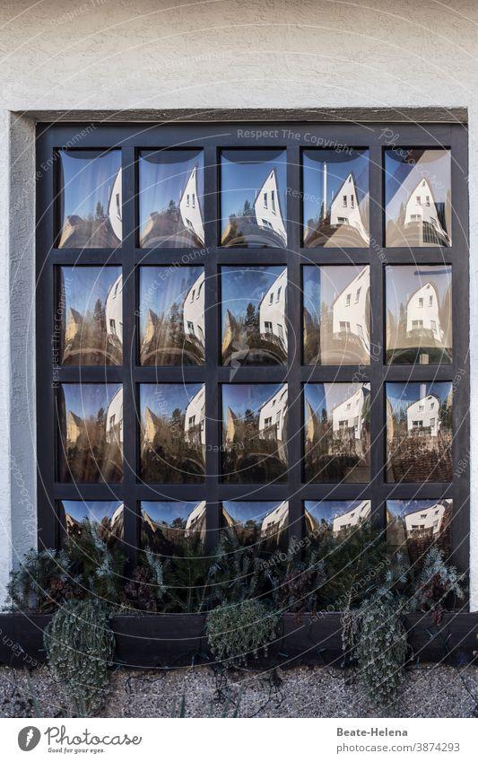 Blick durch den Zerrspiegel Spiegel Butzenscheibe Warhol Spiegelbild Reflexion & Spiegelung zerrbild Fenster Nachbarhaus Blumenkasten verspielt