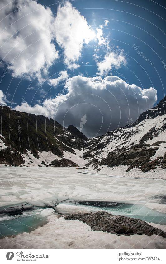Sommer in den Hochalpen Umwelt Natur Landschaft Erde Wasser Himmel Wolken Sonne Klimawandel Schönes Wetter Eis Frost Schnee Hügel Felsen Alpen Berge u. Gebirge