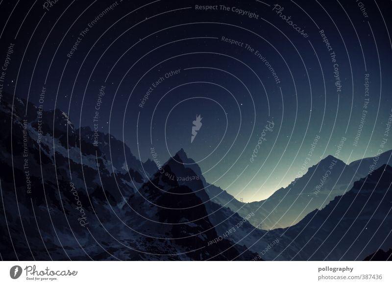 i feel so high Natur Landschaft Himmel Nachthimmel Stern Horizont Schönes Wetter Schnee Hügel Felsen Alpen Berge u. Gebirge Gipfel Schneebedeckte Gipfel