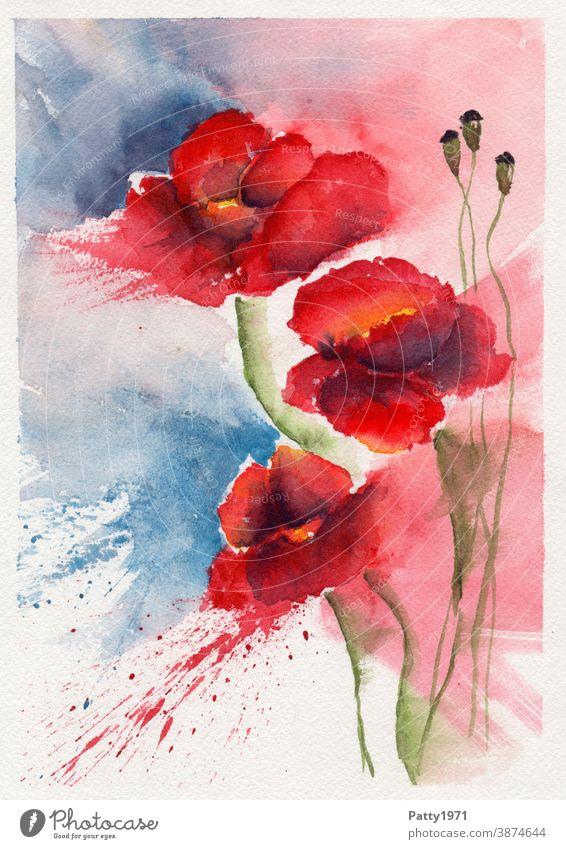 Aquarellmalerei. Drei abstrakte Mohnblüten mit Farbspritzer Blume Blüte Klatschmohn Kreativität malen Kunst Wasserfarbe Freizeit & Hobby zeichnen Gemälde