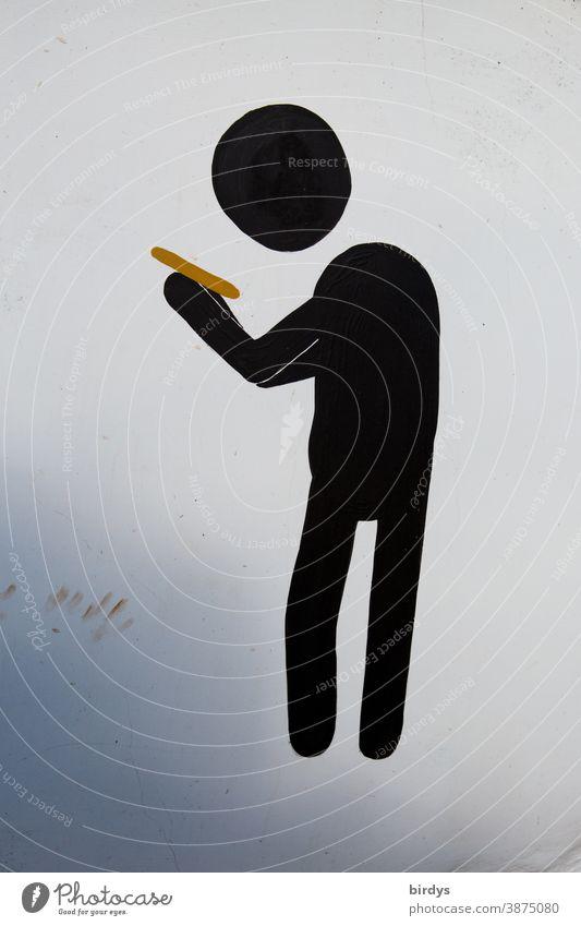 Piktogram eines Menschen der auf sein Smartphone schaut. Neutraler Hintergrund online Handynutzung digitale Medien Sucht Kurzsichtigkeit Nachrichtendienste