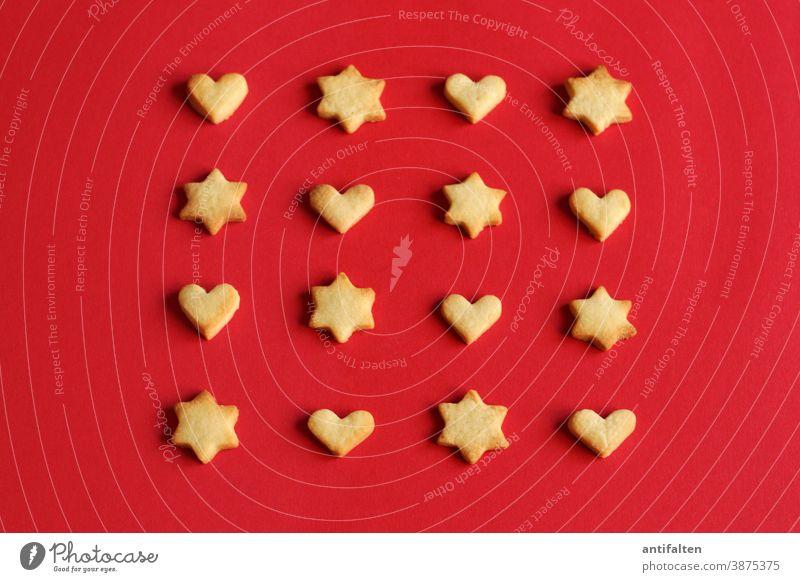 Nervennahrung Kekse kekse backen Plätzchen Plätzchen ausstechen Stern (Symbol) Sterne Herz herzförmig herzlich herzen Weihnachten & Advent Backwaren Teigwaren