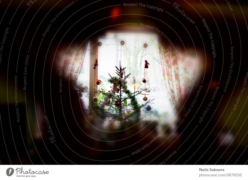 Weihnachtsbaum in Fensternähe - Aufnahme durch den sternförmigen Weihnachtsschmuck Baby Hintergrund Ball Kugel Kasten Baustein Feier Kind Weihnachten farbenfroh