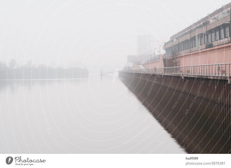 Nebel am Kai im Hafen Fähre herbstnebel Herbstwetter Nebelschleier Pier Winter Wetter Steg Lampe Anlegestelle Wasser Schifffahrt Flussufer Bucht Hafeneinfahrt