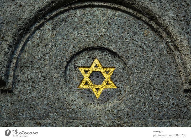 Ein goldener Davidstern an einem Gebäude Israel Grab Denkmal Mauerstein Religion & Glaube Wahrzeichen Bauwerk Sehenswürdigkeit historisch Judentum Judenstern