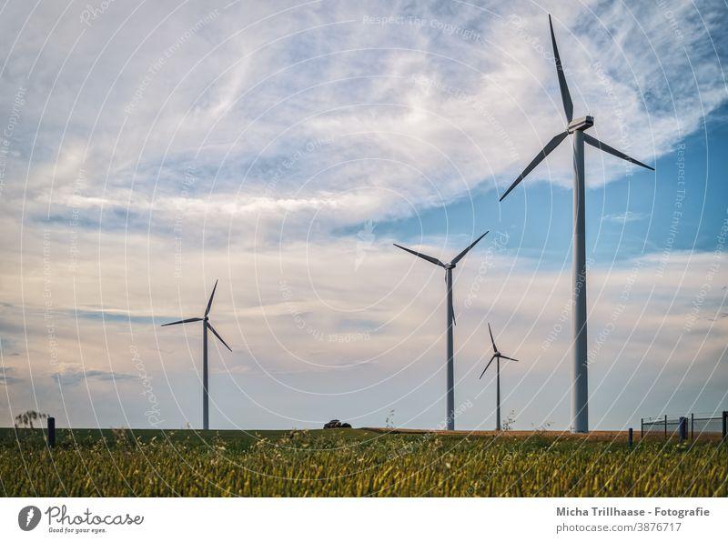 Windräder auf dem Feld Windkraftanlage Erneuerbare Energie Technik & Technologie Energiewirtschaft Landwirtschaft Nachhaltigkeit Elektrizität Strom Zaun Himmel