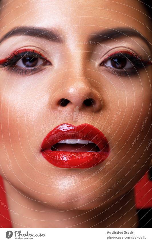 Wunderschöne Frau mit dunklem Make-up im Studio professionell Gesicht Accessoire Schmuck Bijouterie traumhaft Vorschein Teint trendy Model Stil Ohrringe