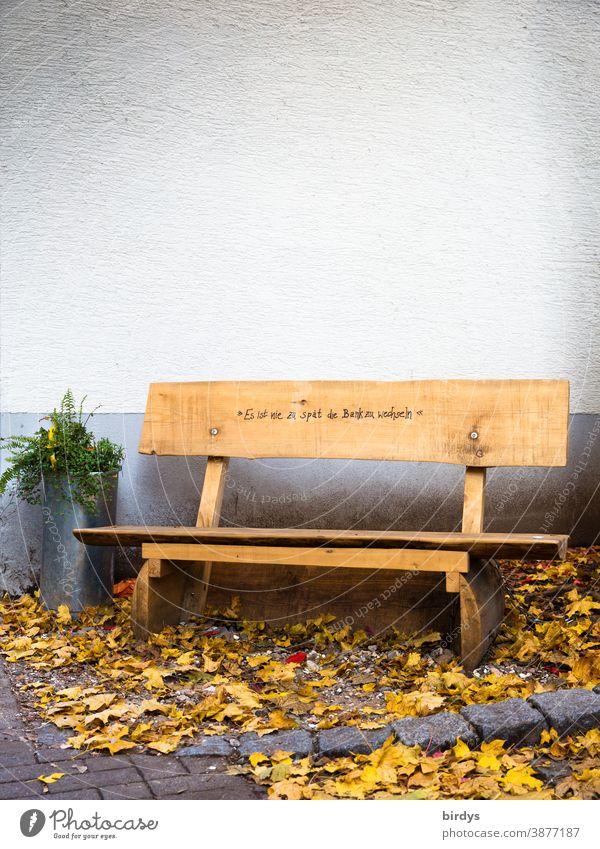 """öffentliche Holzbank, Sitzgelegenheit mit der Aufschrift """"es ist zu spät die Bank zu wechseln """" Doppeldeutigkeit Schriftzeichen Humor Herbstlaub Sitzecke Pause"""