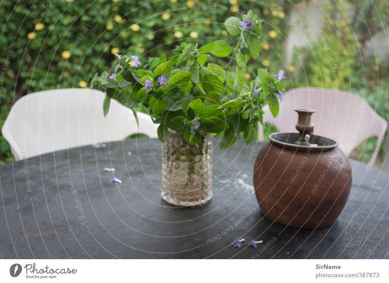 236 [green home] Häusliches Leben Garten Pflanze Tisch Tischplatte Kerzenständer Vase Gartenmöbel Gartenstuhl Frühlingsgefühle bescheiden Erholung Kommunizieren