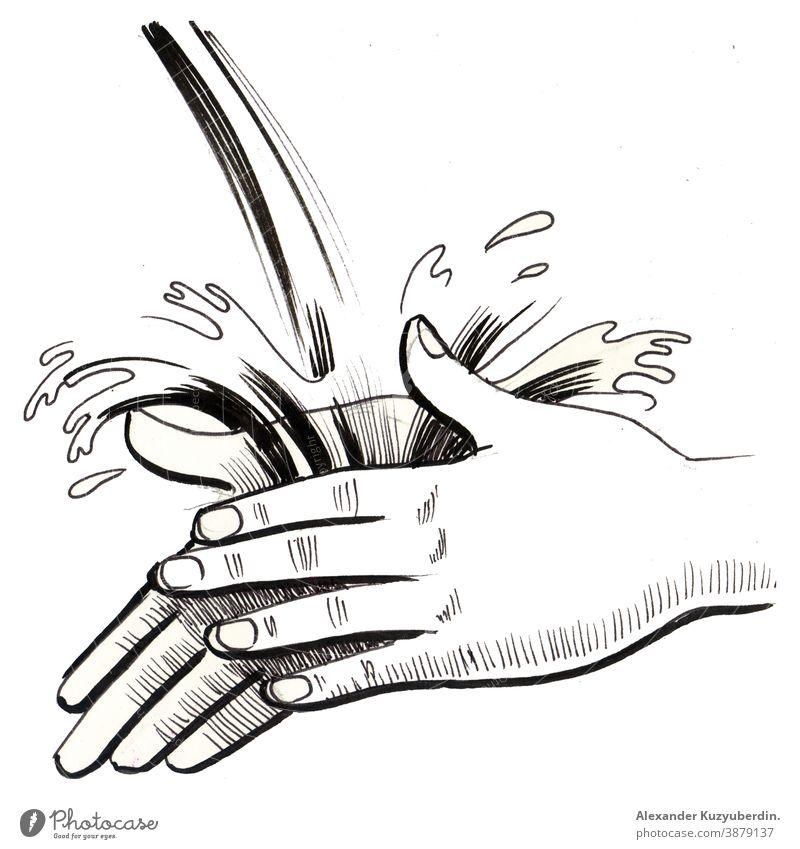Handwäsche in fließendem Wasser. Tinte schwarz und weiß Zeichnung Hände Wäsche waschen Hygiene Sauberkeit Seife Kunst Kunstwerk Hintergrund
