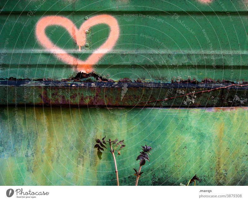Herz auf Metall Liebe Gefühle Graffiti Zeichen Verliebtheit Valentinstag Romantik Strukturen & Formen Liebeserklärung Symbole & Metaphern grün rot Rost alt