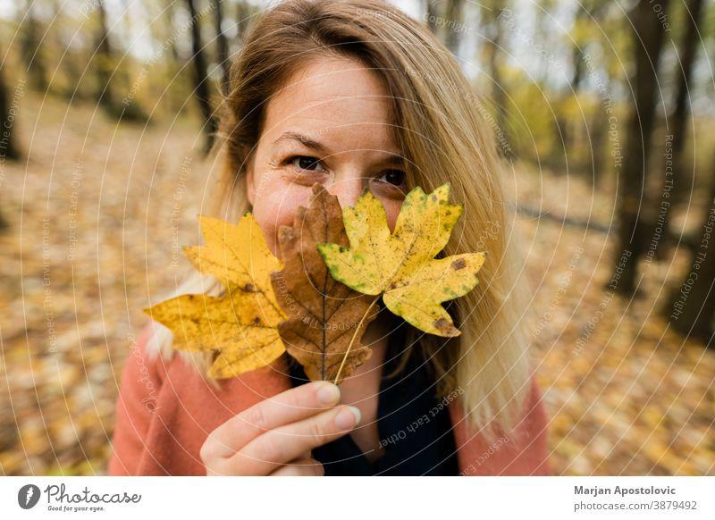 Junge Frau hält gelbes Herbstlaub im Wald 30s Erwachsener schön Schönheit blond Kaukasier heiter Farbe niedlich genießen fallen Laubwerk frisch Spaß Mädchen