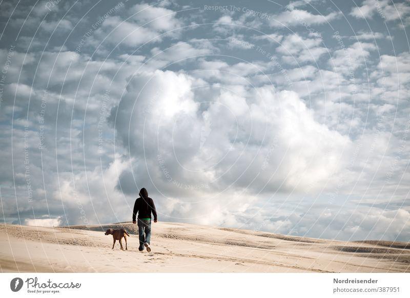 Wege gehen.... Abenteuer Ferne Freiheit wandern Mensch 1 Landschaft Urelemente Sand Luft Himmel Wolken Klimawandel Wüste Wege & Pfade Hund laufen Erfolg