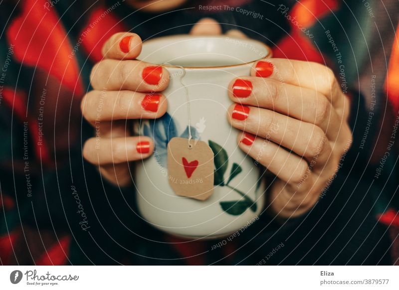 Frau mit rot lackierten Fingernägeln hält eine Teetasse, der Teebeutel hat ein Etikett mit rotem Herzchen drauf. Tee trinken Tasse gemütlich Wärme Winterzeit