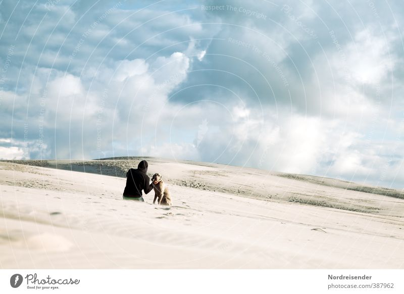 Zwei Ausflug Abenteuer Ferne Freiheit wandern Mensch Junger Mann Jugendliche Landschaft Himmel Wolken Klima Klimawandel Wüste Tier Hund Sand Kommunizieren