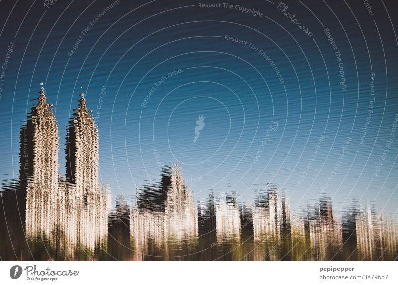 Skyline New York, Spiegelung im Jacqueline Kennedy Onassis Reservoir, Central Park See New York City Außenaufnahme Hochhaus USA Ferien & Urlaub & Reisen Himmel