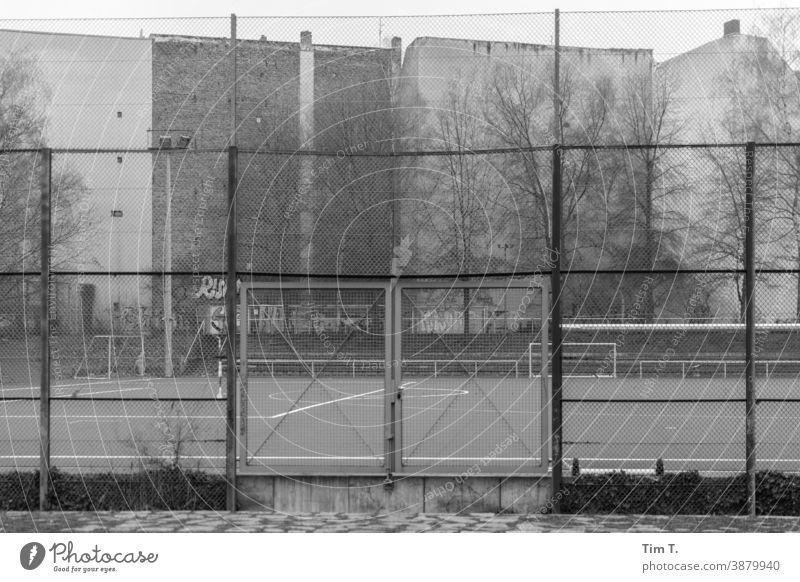 ein Sportplatz in Berlin Wedding wedding Himmel Zaun Platz Fußballplatz Ballsport Freizeit & Hobby Sportstätten Außenaufnahme Tag Spielfeld Winter black/white