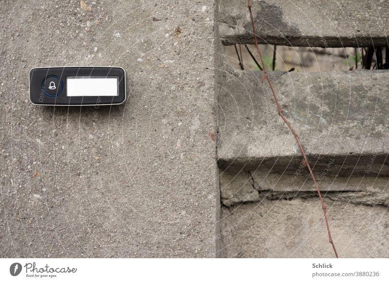 Moderner Klingelknopf mit leerem Namensschild an grauer Betonwand und kahle Ranke einer Kletterpflanze modern Wand Pflanze Symbol Glocke Ikon Textfreiraum