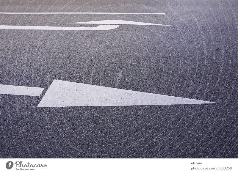 auf einer grauen, asphaltierten Straße zeigt ein weißer Pfeil die Geradeausspur, ein anderer die Linksabbiegerspur an / Fahrbahnmarkierung / Orientierung / Entscheidung